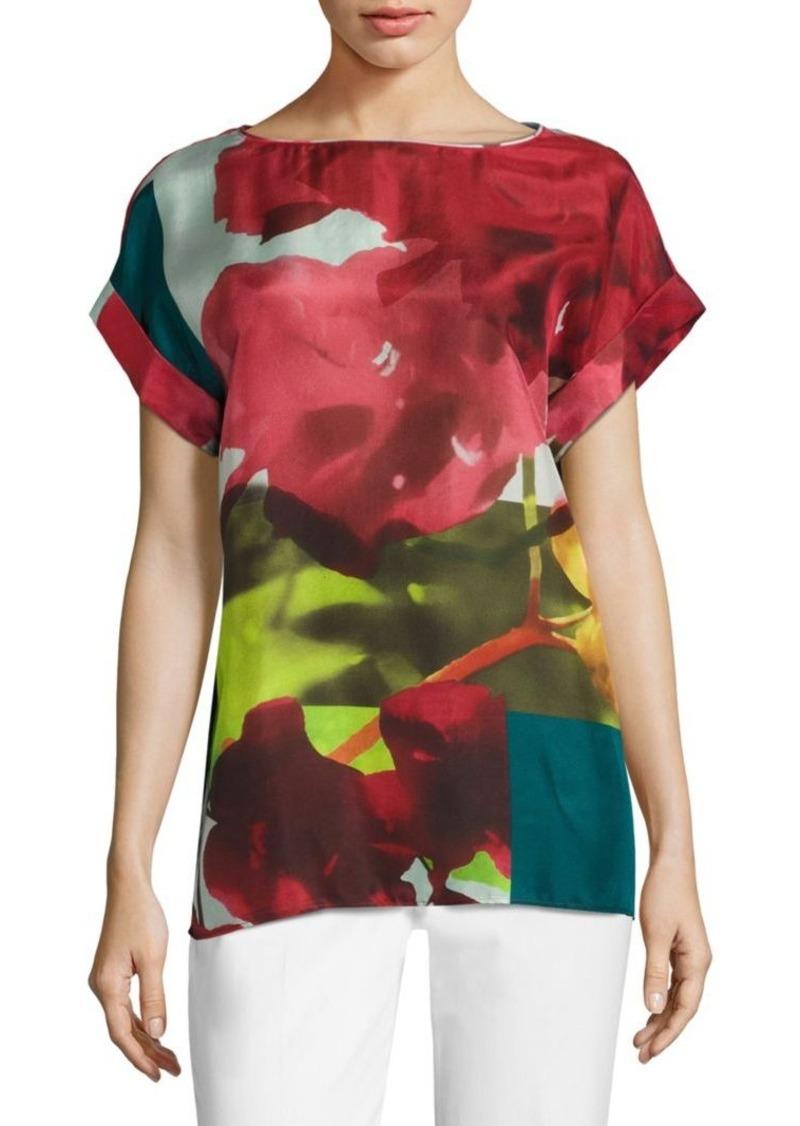 Lafayette 148 New York Lori Floral-Print Silk Blouse