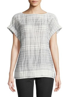 Lafayette 148 New York Lori Short-Sleeve Palmetto Crinkle-Stripe Blouse
