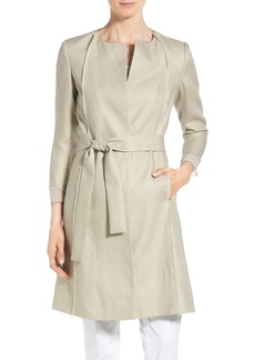 Lafayette 148 New York 'Louanna' Fringe Trim Belted Jacket