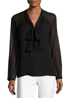 Lafayette 148 New York Louise Tie-Neck Silk Blouse w/ Long Georgette Sleeves