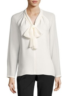 Lafayette 148 New York Louise Tie-Neck Silk Blouse w/ Long Georgette Sleeves