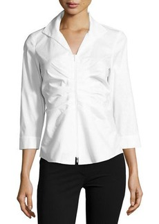 Lafayette 148 New York Lucile Ruched Zip-Front Blouse