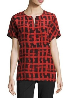 Lafayette 148 New York Lula Short-Sleeve Printed Silk Blouse