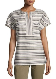 Lafayette 148 New York Lula Split-Neck Striped Blouse