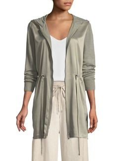 Lafayette 148 New York Lustrous Linen Hooded Cardigan with Charmeuse Front