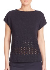 Lafayette 148 Luxe Metallic Eyelet Stitch Sweater