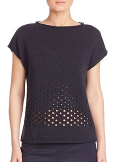 Lafayette 148 New York Luxe Metallic Eyelet Stitch Sweater