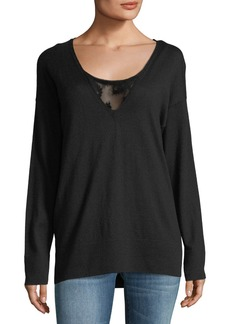 Lafayette 148 Luxurious Lace-Inset Sweater