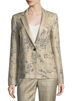 Lafayette 148 New York Lyndon One-Button Plaid Floral-Embroidered Jacket