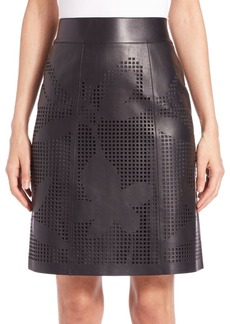 Lafayette 148 New York Madeline Laser-Cut Faux-Leather Skirt