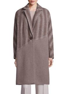 Lafayette 148 Magnolia Wool, Alpaca & Cashmere Ombre Herringbone Coat