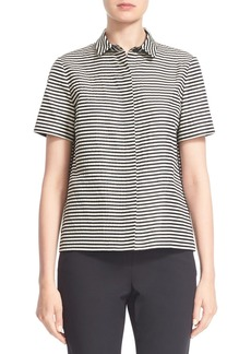 Lafayette 148 New York 'Maisie' Stripe Short Sleeve Blouse (Regular & Petite)