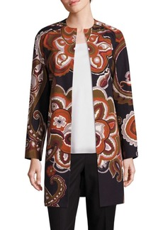 Lafayette 148 Makeda Cotton Fille Paisley-Print Coat