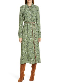 Lafayette 148 New York Mandalyn Print Long Sleeve Midi Shirtdress