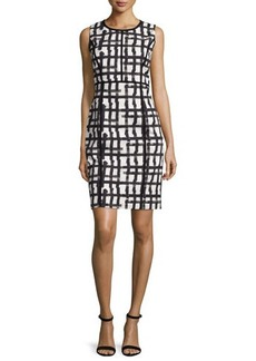 Lafayette 148 New York Mariana Grid-Print Sheath Dress