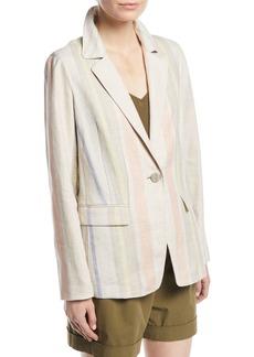 Lafayette 148 New York Marie Mesa-Stripe Linen Jacket