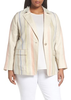 Lafayette 148 New York Marie Stripe Linen Jacket (Plus Size)