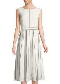 Lafayette 148 New York Mariposa Finesse Crepe A-Line Midi Dress
