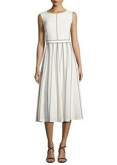 Lafayette 148 New York Maripose Finesse Crepe A-Line Midi Dress