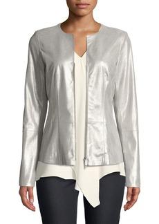 Lafayette 148 New York Maris Metallic-Weave Suede Jacket