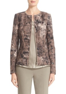 Lafayette 148 New York 'Maris' Zip Front Collarless Jacket