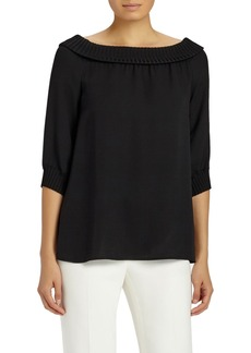 Lafayette 148 New York Marlo Double Silk Georgette Off the Shoulder Blouse