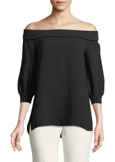 Lafayette 148 New York Marlo Silk Off-the-Shoulder Blouse w/ Ribbed Trim