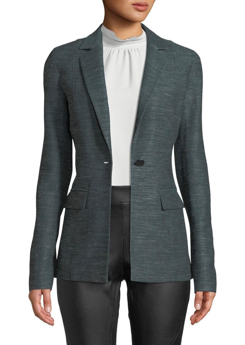 Lafayette 148 New York Marris One-Button Mayfair Weave Jacket