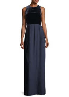 Lafayette 148 Marsiela Sleeveless Velvet Pleated Maxi Cocktail Dress