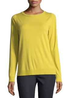 Lafayette 148 New York Matte Crepe Crewneck Sweater