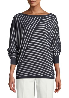 Lafayette 148 New York Matte Crepe Directional Striped Sweater