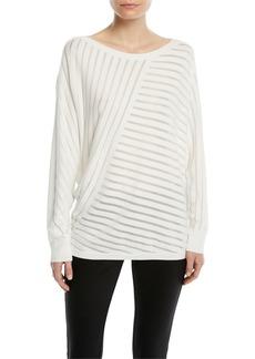 Lafayette 148 New York Matte Crepe Directional Striped Sweater