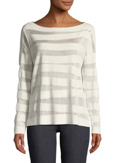 Lafayette 148 New York Matte Crepe Intarsia-Striped Sweater