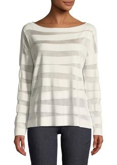 Matte Crepe Intarsia-Striped Sweater