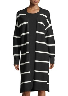 Lafayette 148 New York Matte Crepe Long Striped Cardigan