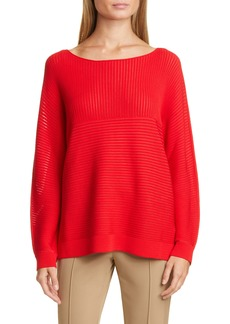 Lafayette 148 New York Matte Crepe Mixed Links Stitch Sweater