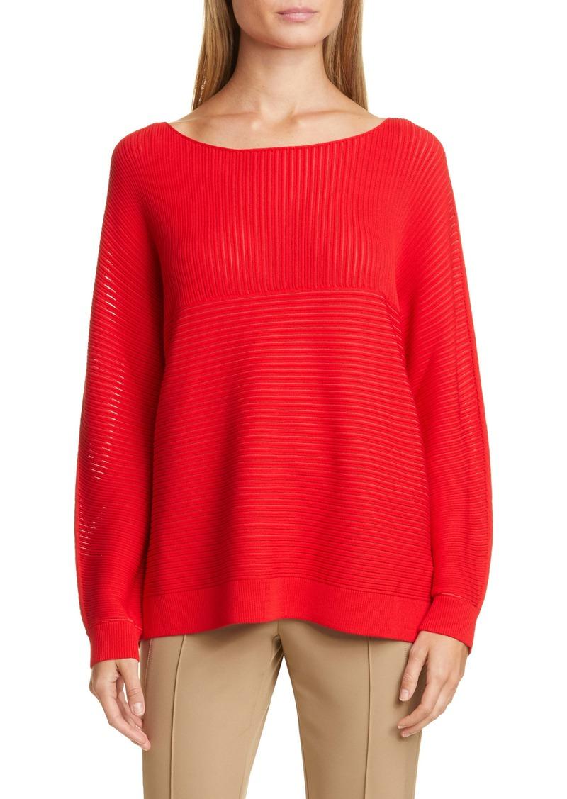 Lafayette 148 New York Matte Crepe Mixed Links Stitch Sweater