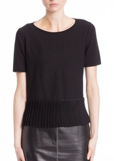 Lafayette 148 New York Matte Crepe Pleated Hem Sweater