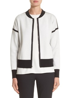Lafayette 148 New York Matte Crepe Reversible Knit Bomber Jacket