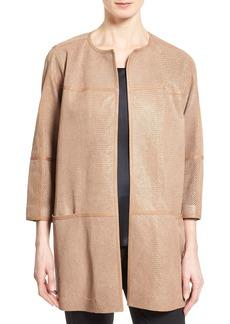 Lafayette 148 New York 'Maureen' Long Textured Leather Jacket