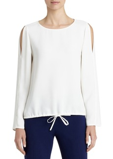 Lafayette 148 New York Maxina Silk Cold Shoulder Blouse