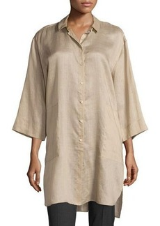 Lafayette 148 New York Meldy Button-Front Long Blouse