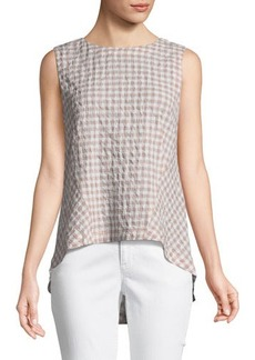 Lafayette 148 New York Melina Sleeveless Check Blouse