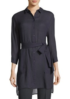 Lafayette 148 New York Melody Tie-Front Long Blouse