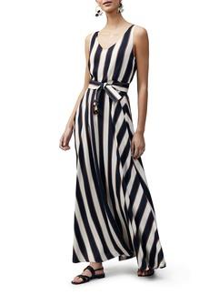 Lafayette 148 New York Memphis Belted Stripe Maxi Dress