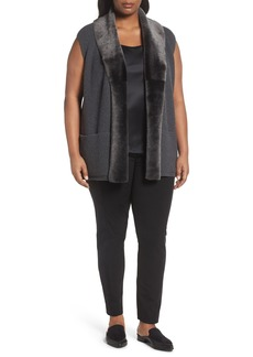 Lafayette 148 New York Merino Blend Vest with Genuine Shearling Trim (Plus Size)