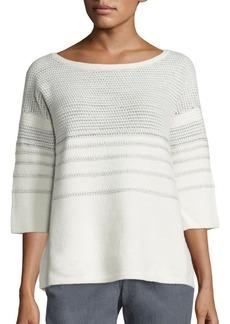 Lafayette 148 New York Merino Wool & Cashmere Metallic Stitch Sweater