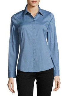 Lafayette 148 New York Merite Long-Sleeve Poplin Blouse