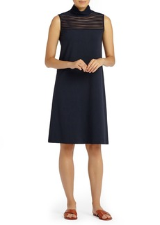Lafayette 148 New York Mesh Stripe Punto Milano Dress