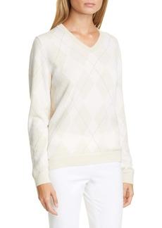 Lafayette 148 New York Metallic Argyle Sweater